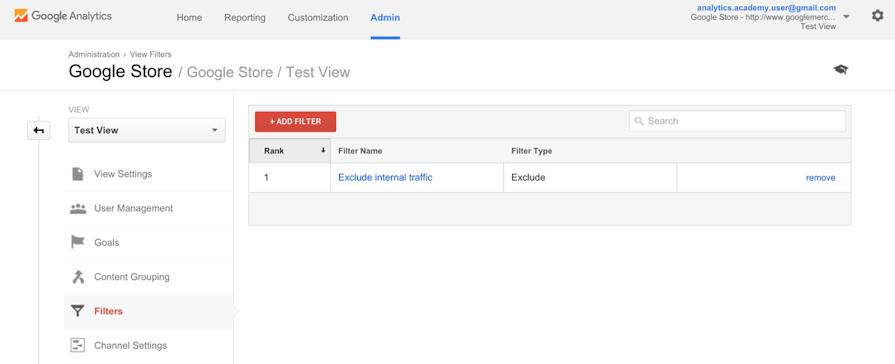 صفحه لیست فیلترها در گوگل آنالیتیکس