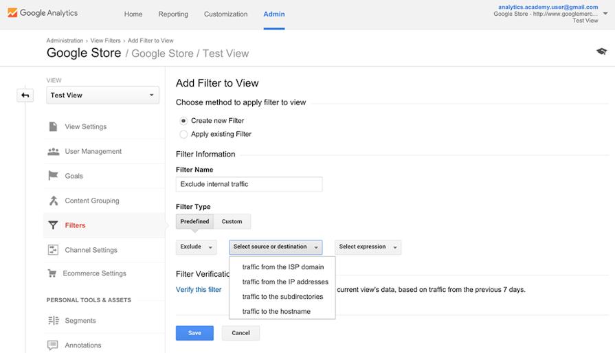 انتخاب منبع یا مقصد فیلترها در گوگل آنالیتیکس